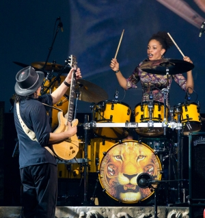 Carlos Santana and his wife Cindy Blackman on drums as Cindy makes a guest appearance as  SANTANA performs at The Joint at The Hard Rock Hotel & Casino in Las Vegas, NV on April 27, 2011. (C) RD/ Kabik/ Retna Digital ***HOUSE COVERAGE***